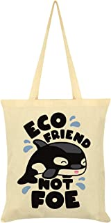 Whale Eco Friend Not Foe Tote Bag Cream 38x42cm