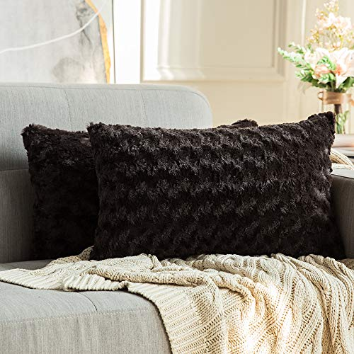 MIULEE Pack of 2 Decorative Throw Pillow Covers Luxury Faux Fuzzy Fur Super Soft Cushion Pillow Case Decor Chocolate Cases for Couch Sofa Bedroom Car 12 x 20 Inch 30 x 50 cm
