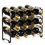 Bextsware 3 Tiers Stackable Metal Wine Rack, 12 Bottles Freestanding Holder...