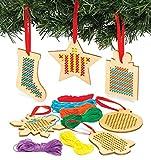 Baker Ross Kits de punto de cruz de decoración de madera navideña - Ideal para manualida...