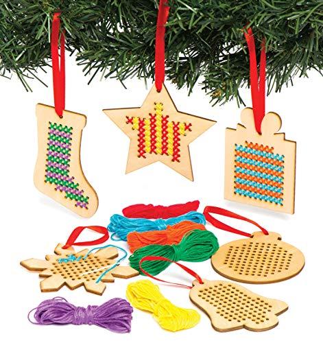 Baker Ross Kreuzstich-Set, Weihnachtsdekoration, Holz, ideal für Kinderkunst- und Bastelarbeiten, Geschenke, Andenken und mehr (6 Stück)