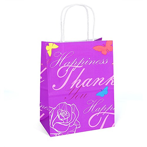 Halulu 8x4.75x10 50 Pcs Kraft Paper Bags Shopping Bags Grocery Mechandise Paper Gift Bags (Purple with Printed)