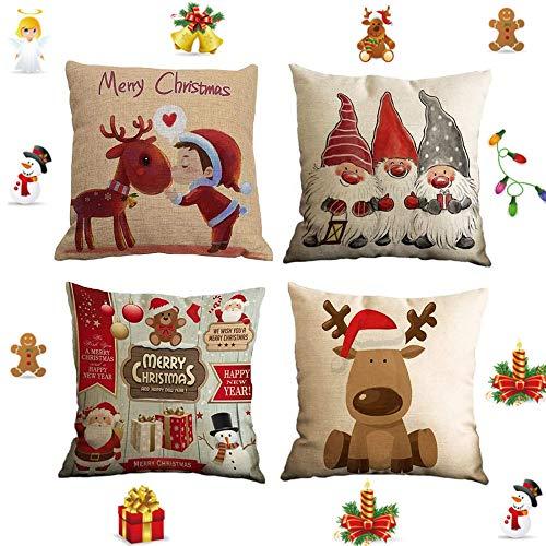 FAFAFA Weihnachten Kissenbezug 4 Pack,Weihnachten Kissenbezug 45x45,Leinen Dekokissen,Weihnachten Dekorative Kissenhülle,Kissenbezug Frohe Weihnachten Dekorative