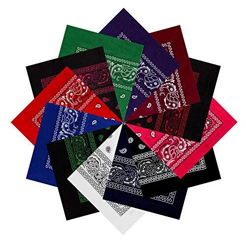 Pañuelos Bandanas de 3 o 12 Piezas, Paisley Algodón, 55x55cm para Cuello, Pulsera o Cabeza, Múltiuso Unisex Hombre Mujer, Variedad Colores, Uso Diario, Fiestas, Disfraz (Pack 12 modelo F, Talla única)