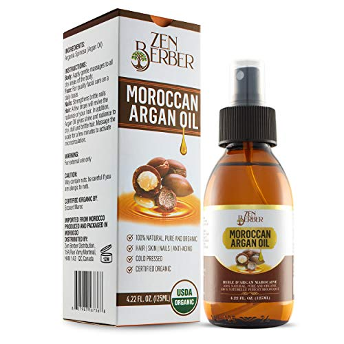 Zen Berber Pure Moroccan Argan Oil for Hair Skin Nails and Beard (4.22 oz. 125 ml)–USDA Certified 100% Organic, Cold Pressed, Anti-Aging, Antioxidants Moisturizer  Fight Dryness, Fine Lines wrinkles