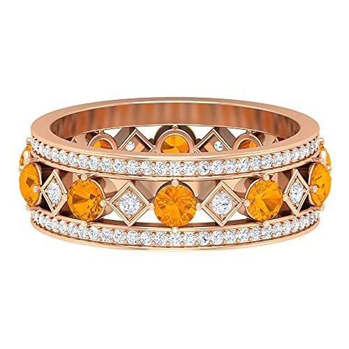 Anillo de boda único, anillo de piedra de nacimiento de marzo, 1 ct 3 mm de zafiro naranja creado en laboratorio, anillo HI-SI 0, 14K Oro rosa, Size:EU 57