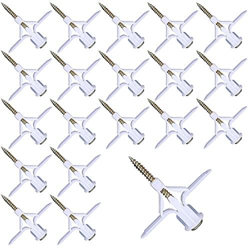 60 Pcs Gipskarton Schrauben, Selbstbohrender Gipskartondübel Trockenbau Anker Kunststoff, Dübel und Schrauben Expansionsschraube Kunststoff-Flugzeug-Expansionsrohr Vorhang für Hohlwandbefestigung