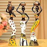CWWU Estatua Jardin 3 Unids/Set Resina Africana Niñas Artesanías Sala De Estar Figuritas Accesorios De Decoración del Hogar Oficina Escritorio África Mujeres Adornos