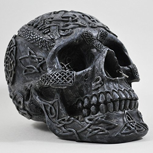 Fiesta Studios Ornement en forme de crâne celtique Noir 13 cm
