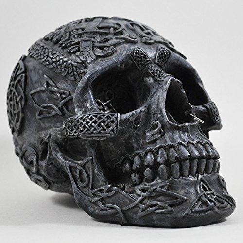 Fiesta Studios Tête de mort celtique Noir 13 cm Sculpture gothique en os lourds