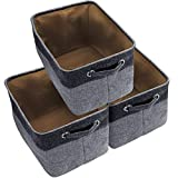 Awekris Large Foldable Storage Basket Bin Set [3-Pack] Storage Cube Box Canvas Fabric Collapsible Organizer With Handles For Home Office Closet Toys Clothes Kids Room Nursery (Grey) (Black)