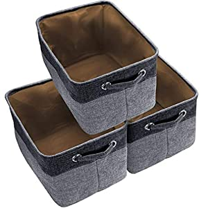 Awekris Large Storage Basket Bin Set [3-Pack] Storage Cube Box Foldable Canvas Fabric Collapsible Organizer with Handles for Home Office Closet Toys Clothes Kids Room Nursery (Grey)
