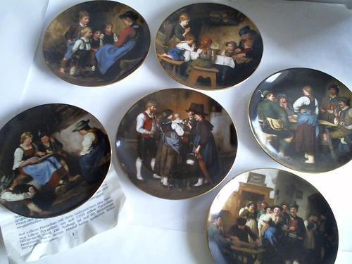 Besuch der Tanten/Vor dem Tanz/Wilderer in der Sennhütte/Das Tischgebet/Die Geschichtenerzählerin/Die Zitherspielerin. 6 Teller aus Porzellan