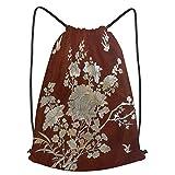 fudin Impermeable Bolsa de Cuerdas Saco de Gimnasio silla china de perlas estampadas Deporte Mochila para Playa Viaje Natación