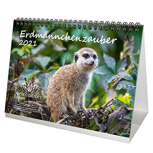 Erdmännchenzauber DIN A5 Tischkalender für 2021 Erdmännchen - Geschenkset Inhalt: 1x Kalender, 1x Weihnachts- und 1x Grußkarte (insgesamt 3 Teile)