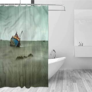 GloriaJohnson Shipwreck Hotel Fabric Shower Curtain Abandoned Fishing Boat Suitable for Bathroom W69 x L74 Inch