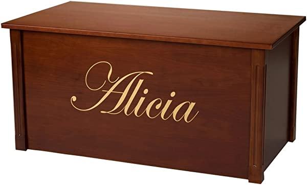 Wood Toy Box Large Cherry Toy Chest Personalized Edwardian Font Custom Options