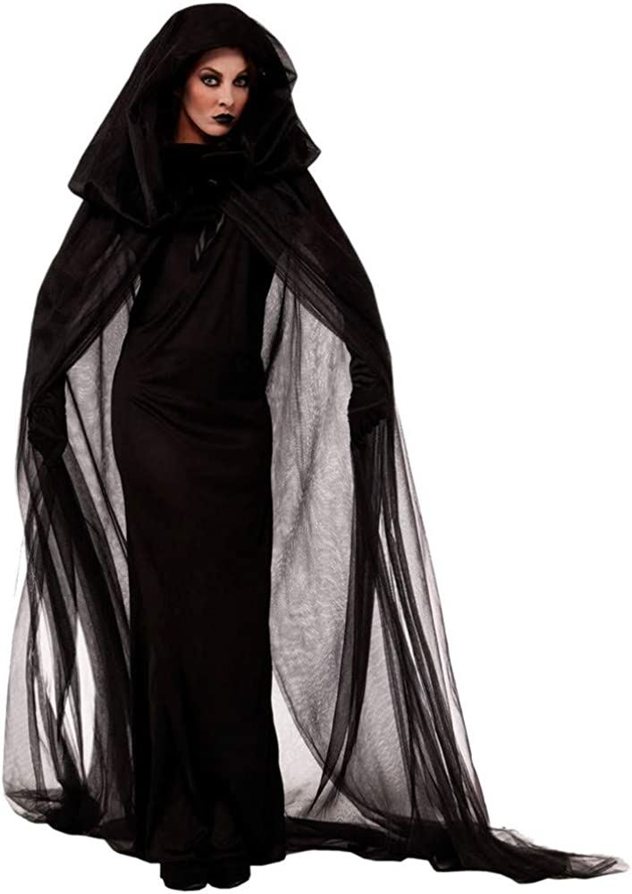 LOKODO Womens Plus Size Halloween Hooded Lace Up Patchwork Long Sleeve Maxi Dress Witch Costume