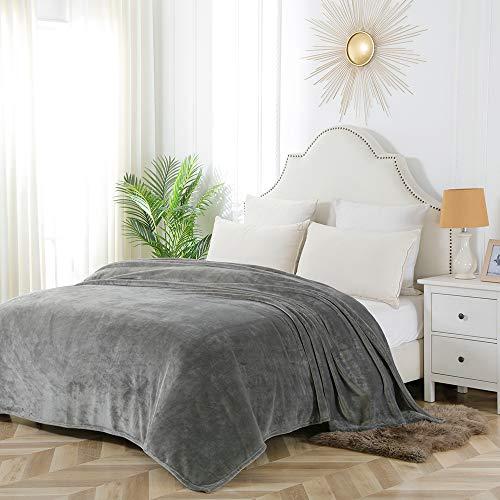 BOURINA Flanell-Decke, Überwurf, leicht, gemütlich, Plüsch, Mikrofaser, feste Fleece-Decke, 152 x 203 cm, grau