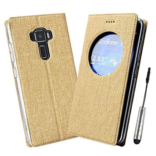 Ycloud Geschäft PU Leder Tasche für Asus ZenFone 3 (5.5zoll) ZE552KL Wallet Flipcase mit Standfunktion Kartenfächer Entwurf Gold Leinen Stil Hülle