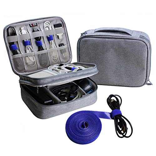 Electronics Organizer Travel Cable Cord Wire Bag Accessories Gadget Gear Storage Cases (Light Gray)