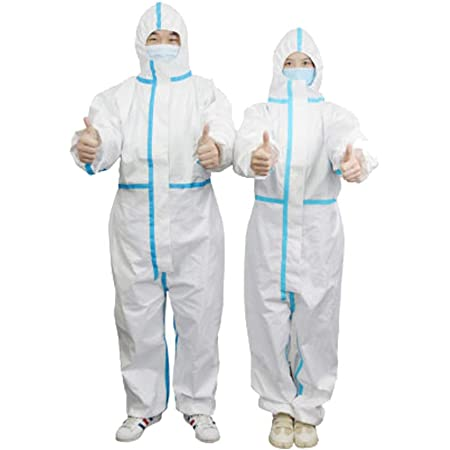 20 Packs Coveralls Protective Suit Full Body Isolation Gowns Clothing Anti-Spitting And Anti-Oil Stain Nursin Against Infection Suits Elastic cuffs with waist Disposable Isolation Suit