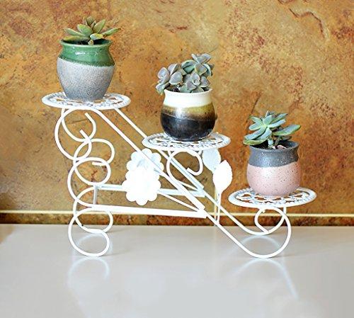 Decoratieve bloem stand ijzer-art montage bureau-vensterbank pot rek woonkamer balkon binnenplant bonsai decoratief frame Wit