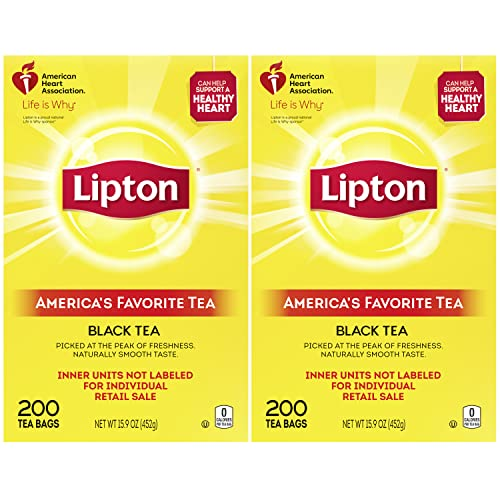 Lipton Tea Bags For A Naturally Smooth Taste Black Tea Iced or Hot Tea That Can Help Support a Healthy Heart 2x200 count tea bags 31.9 oz 400 count