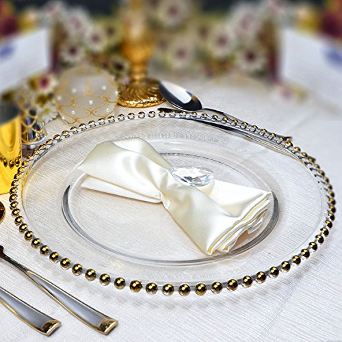 Decor Essentials GLASS CHARGER PLATES BEADED GOLD XMAS EVENTS WEDDINGS 33CM DIAMETER