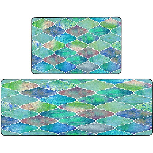 Jesmacti Kitchen Rugs Washable Non Slip Kitchen Rugs and Mats Vintage Pattern Watercolor Green Blue Purple Texture Blue Kitchen Rugs(17X48+17X24 Inches) Kitchen Rugs for Women