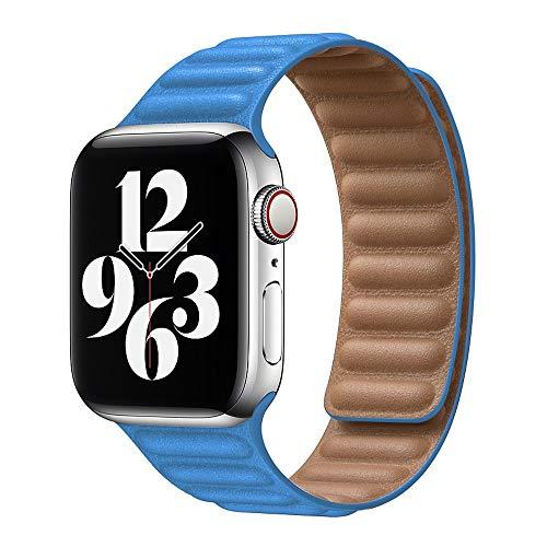 Hspcam Pulsera de cuero original para Apple Watch Series 6 SE 44mm 40 38mm 42mm 42mm pulsera de bucle magnético para iWatch 5 4 3 (38mm o 40mm, Seablue)