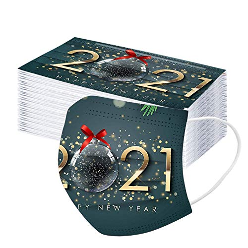 3-lagige Einweg-Weihnachtsgesichts Mǎsks, Unisex 2021 für Erwachsene Frohes Neues Jahr Atmungsaktiver, weicher, komfortabler Gesichtsschutz Bandanas, Bestes Neujahrsgeschenk für Familie und Freunde