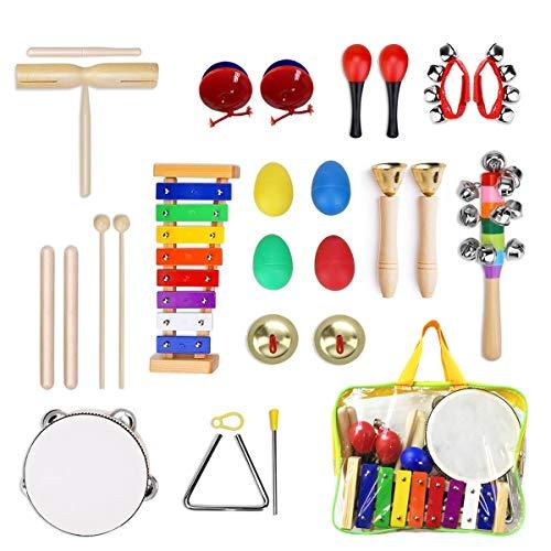 Ulifeme Instrumentos Musicales para Infantil, 25pcs Juguetes Músicales de Percusion para Bebes, Xilófono Madera Set de...