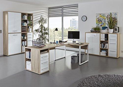 moebel-dich-auf Komplettes Arbeitszimmer - Büromöbel Komplett Set Plus Modell 2017 Maja Set+ in Eiche Natur/Weißglas (Set 4)