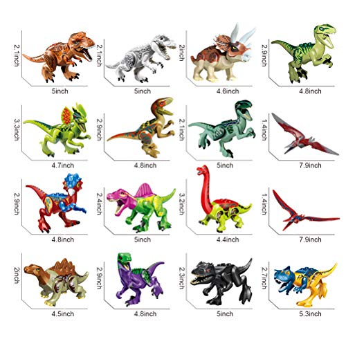 Odowalker Jurassic Dinosaur Toys Assembled Puzzle Small Particle Building Blocks Carnivorous Herbivorous Mini Dinosaur Large Collection 16pcs Removable Chin Wings and Tail for Kids Children Boys and G