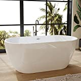 FerdY Bali 59' Acrylic Freestanding Bathtub, Gracefully Shaped Freestanding Soaking Bathtub, Toe-Tap Chrome Drain and Classic Slotted Overflow Included, Glossy White, cUPC Certified,02538