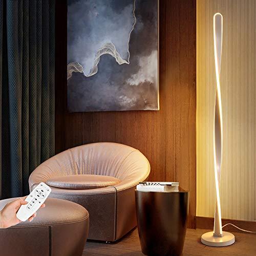 Lámpara De Pie Lámpara De Pie LED Regulable Con Mando A Distancia Lámparas De Pie De Aluminio De 28W 3 Temperaturas De Color Para Las Luces Del Dormitorio De La Sala De Estar L: 130Cm Blanco