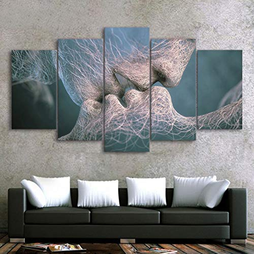 TIANJJss 5 canvas prints HD gedrukte poster 5 stuks canvas kunst abstracte liefde kussens schilderij decoratie wandkunst decoratie voor de woonkamer