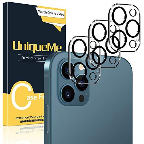 [3 Pack] UniqueMe Compatible con iPhone 12 Pro 6,1 Pulgada Protector de Lente de cámara, [9H Dureza] [HD Film] [Anti-mancha] Cristal Vidrio Templado