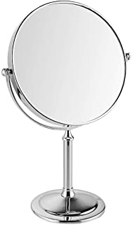 مرايا مكياج قائمة على المكتب مزدوجة الوجهين 1X، التكبير 3X حمام فندق 360 مرآة فانيتي مرآة طاولة