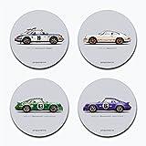 garageproject1011973Classic 911Carrera RS Illustration Sandstein Untersetzer–Set von 4