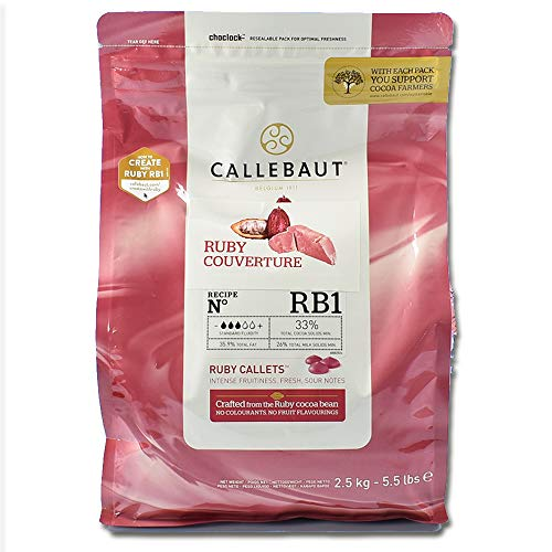 Callebaut Ruby Couverture Chocolate Callets | Recipe RB1 | Crafted from the Ruby Cocoa Bean, No Colourants, No Fruit Flavorings | 5.5 lb / 2.5 kg