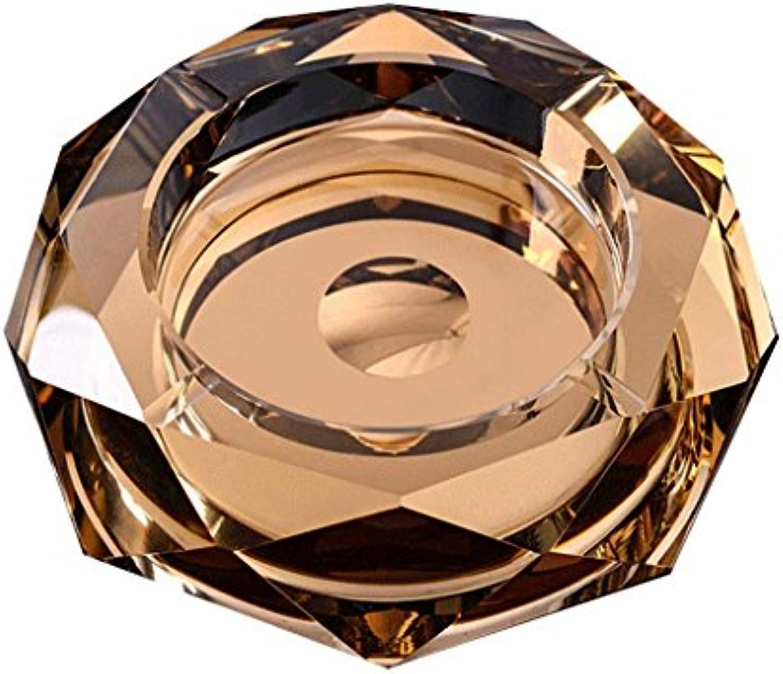 HLL Goldfarbenmuster-Transparente Octangle-Form Kreativer Art- und Weisekristall-Aschenbecher, Zigaretten-Aschenbecher Knnen Bewegliches Winddichtes Aschen-Behlter-Zigarre-Asche-Halter-Schale F