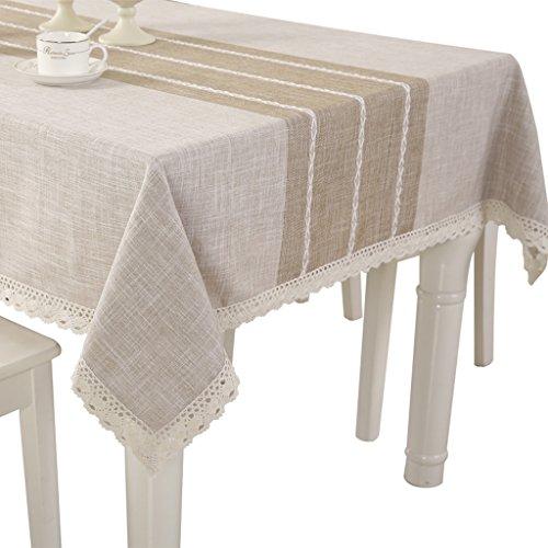 Nappes coton lin rectangulaire table basse tissu carré table peau naturelle style minimaliste moderne (Size : 140 * 200cm oval)