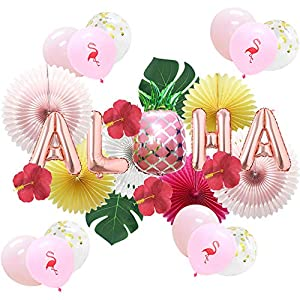 Meiduo Hawaiian Aloha Party Decorations Luau Party Supplies Aloha Pineapple Banner Palm Leaves Silk Hibiscus Flowers Paper Fans Balloons for Adults Baby Shower Tropical Theme Summer Beach Pool Party