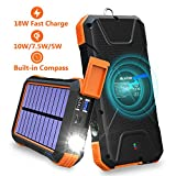 BLAVOR Solar Charger Power Bank 18W, QC 3.0 Portable Wireless Charger 10W/7.5W/5W with 4 Outputs & Dual...