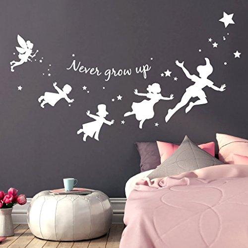 Wandtattoo-Loft® Schriftzug 'Never Grow up' mit Sternen, inspiriert durch Peter Pan und Seine Freunde/Wandtattoo/Wandaufkleber / 54 Farben / 3 Größen/transparent / 35 cm hoch x 62 cm breit