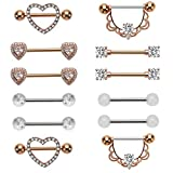 NASAMA Stainless Steel Acrylic Nipple Rings Tongue Ring CZ Barbell Heart-Shape...