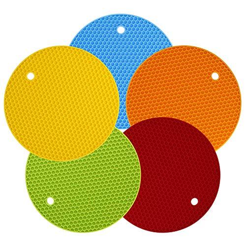 MengH-SHOP Salvamanteles de Silicona Redondo Resistentes al Calor Sostenedor de Pote de Silicona Estera Antideslizante Silicona Trivets Almohadillas Calientes Multiuso 5 Piezas (Multicolor)
