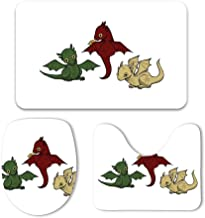 Soft Bathroom Mats Toilet Seat Cover Bath Mat Lid Cover,3pcs//Set Rugs Game of Thrones Dragons Anti-Skid Absorbent Cushy Contour with Lid Cover
